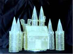 Castle made of crystallized sugar for wedding cake decoration