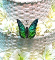 Turquoise & Green Butterfly for Wedding Cake